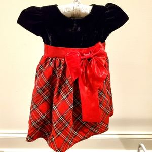 Toddler black Velvet and red plaid dress